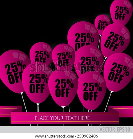Purple balloons With Sale Discounts 25 percent..