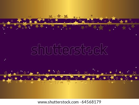 purple banner with gold stars. vector - stock vector