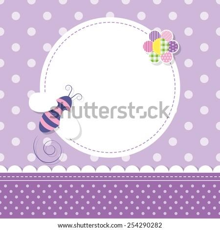 purple bee baby girl greeting card - stock vector