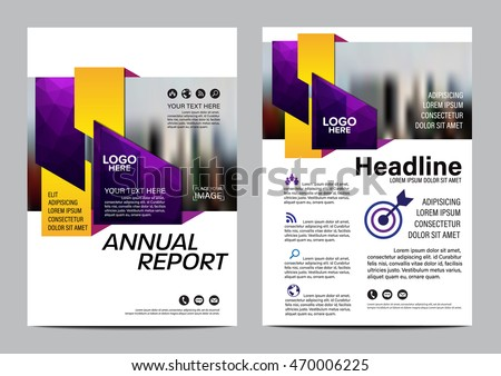 Purple Brochure Layout Design Template Annual Stock Vector 470006225