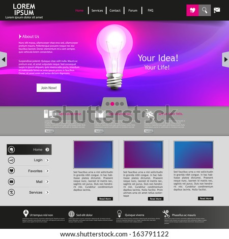 Purple business website template - stock vector