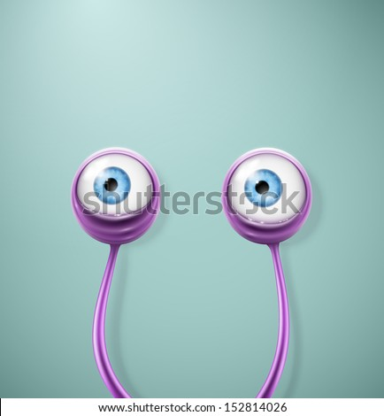 Purple cartoon eyes. Eps 10 - stock vector