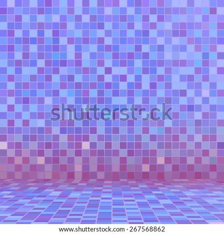 Purple ceramic tile mosaic in swimming pool - stock vector