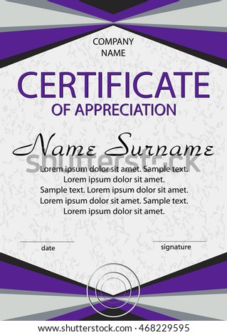 purple certificate of appreciation diploma vertical template winning the competition reward