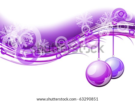 purple christmas background with balls - stock vector