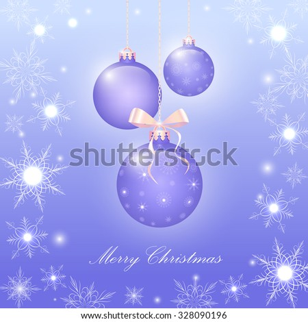purple Christmas shiny balls and snowflakes, glitter, vector - stock vector