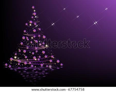 Purple Christmas tree - stock vector