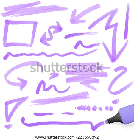 purple colored highlighter with different hand drawn markings - stock vector