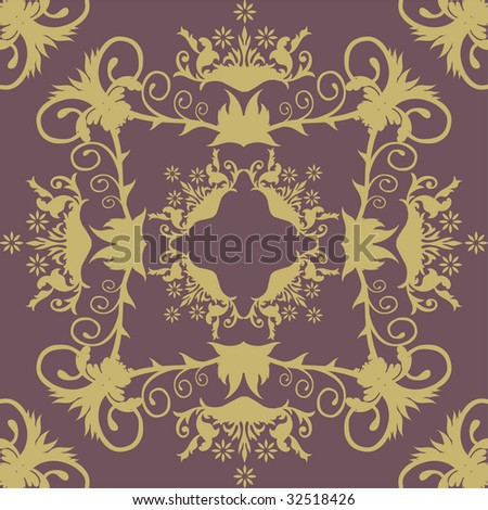 Purple damask wallpaper.Flowers pattern