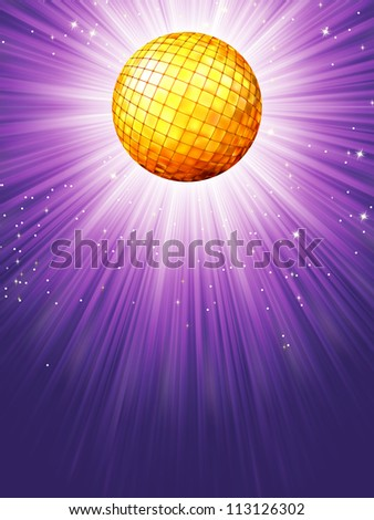 Purple disco rays with stars. EPS 8 vector file included - stock vector