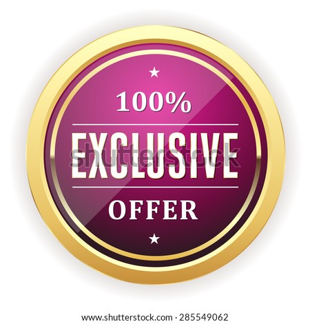 Purple exclusive offer button with gold border on white background - stock vector