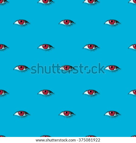 Purple eyes seamless pattern on the blue background. Line art vector illustration.