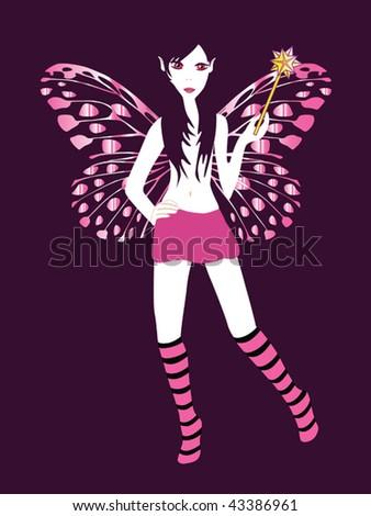 purple fairy vector - stock vector