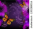purple floral abstraction with butterflies - stock vector