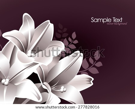 Purple Floral Background with White Lily Flowers.