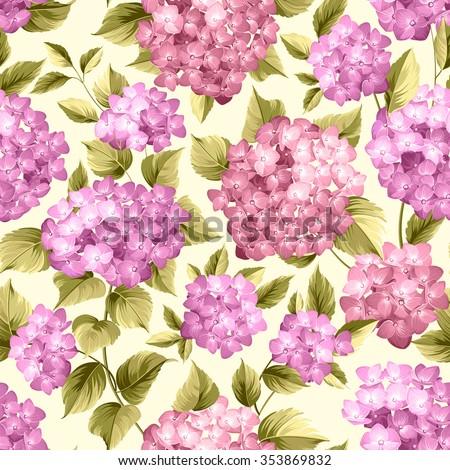 Purple flower hydrangea on seamless background. Mop head hydrangea flower pattern. Beautiful violet flowers. Vector illustration. - stock vector