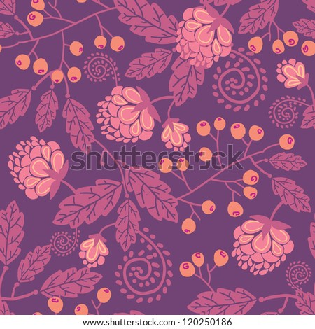 Purple flowers and berries seamless pattern background - stock vector