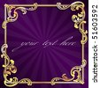 Purple frame with gold filigree (Eps10); JPG version also available - stock vector