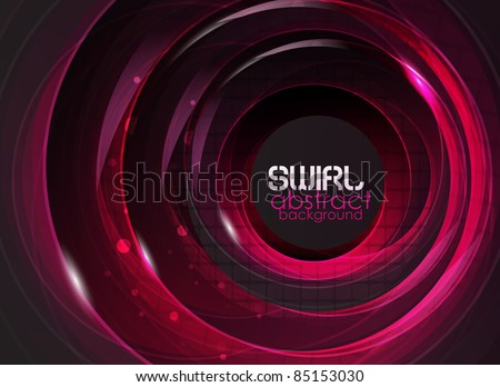 Purple glass round shapes on black. Abstract background - stock vector