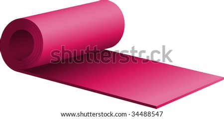 Purple half-rolled exercise mat - stock vector