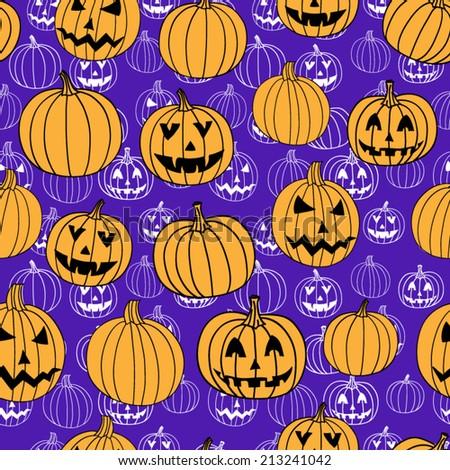 Purple halloween jack seamless pattern - stock vector