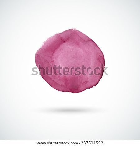 Purple hand drawn watercolor circle. Vector design element. - stock vector