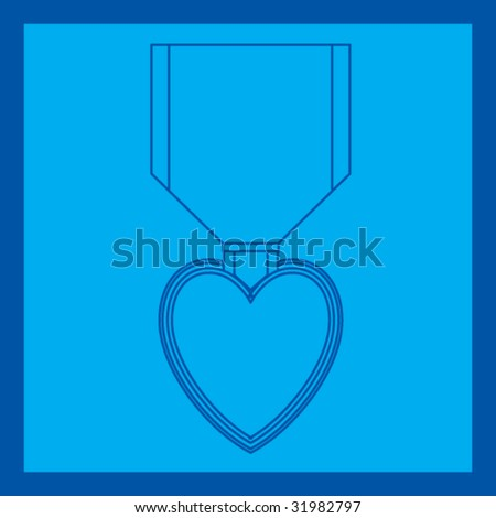 purple heart medal blueprint - stock vector