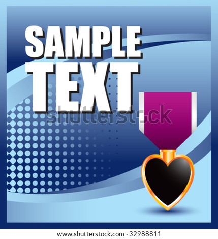 purple heart medal on blue halftone banner - stock vector