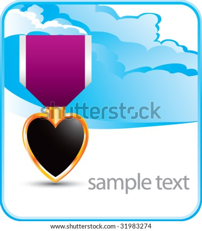 purple heart medal on cloud banner - stock vector