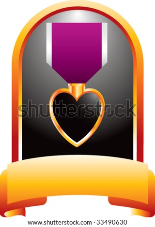 purple heart medal on gold display - stock vector