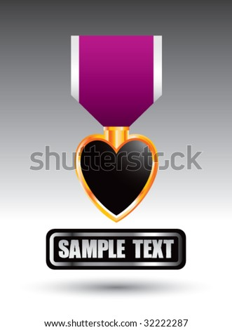 purple heart medal on nameplate - stock vector