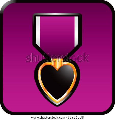 purple heart medal on purple web button - stock vector