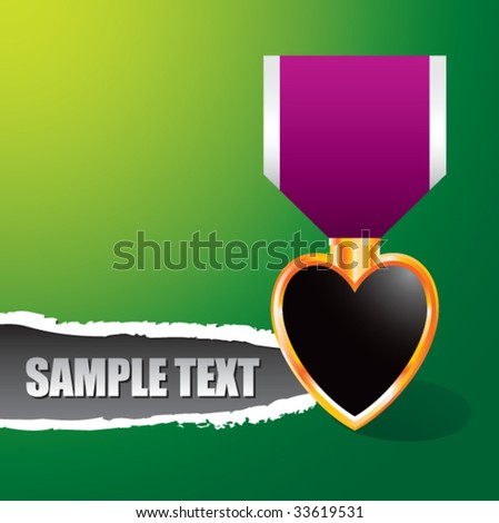 purple heart medal on ripped banner - stock vector