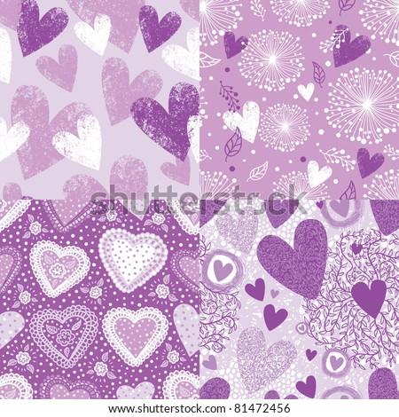 purple hearts seamless pattern set - stock vector