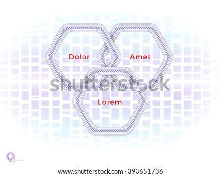 Purple Hexagonal text Boxes Rings for Your Main Page Banner - stock vector