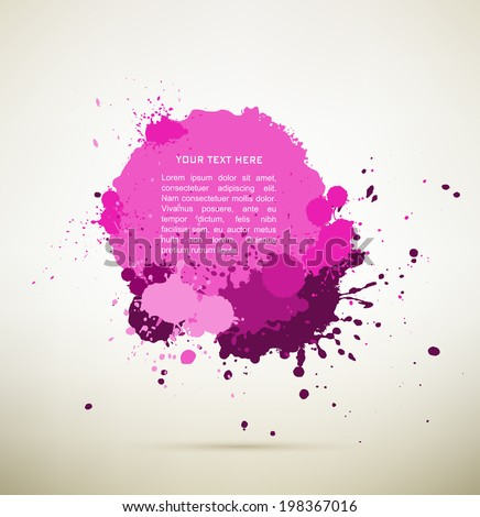 purple Ink splats with text.  vector  ink splashes,each splash is grouped individually ,so you can modify it as you want.  - stock vector