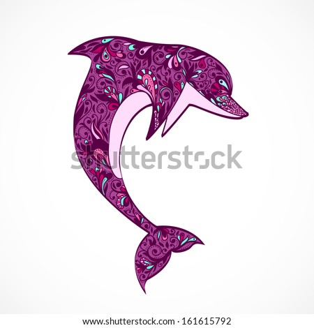 Purple Jumping Dolphin With Floral Ornament Summer Holiday Symbol Icon