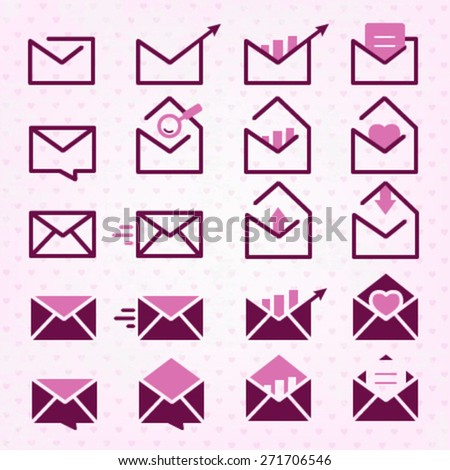 Purple Mail, Message and Envelope Icon Set - stock vector