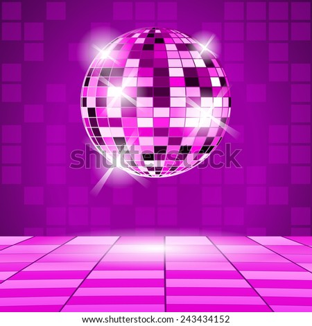 Purple Party background with disco ball - stock vector