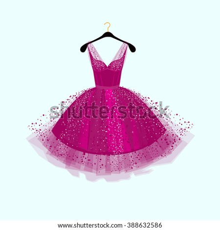 Purple Party dress.Vector illustration