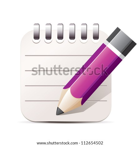 Purple pencil and notepad icon - stock vector