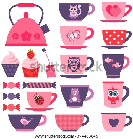purple, pink and red tea cups - stock vector