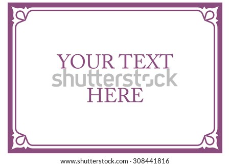 Purple pink horizontal border frame deco. Vector art simple line corner signboard - stock vector