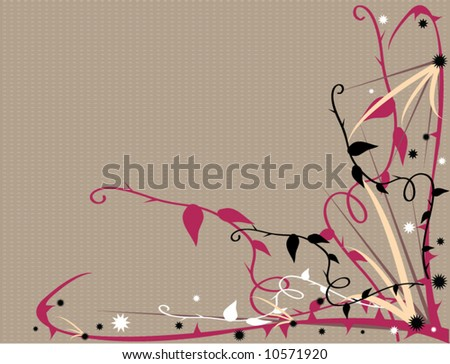 Purple pink thorny vector floral - stock vector