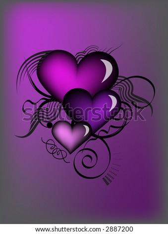 purple retro hearts with vector - stock vector