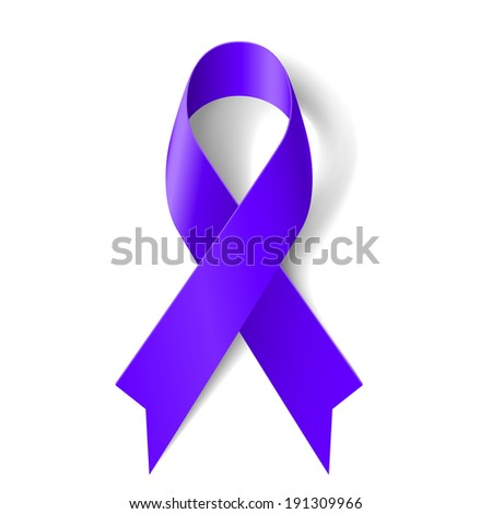 Purple ribbon as symbol of general cancer awareness, drug overdose, domestic violence, Alzheimer disease - stock vector