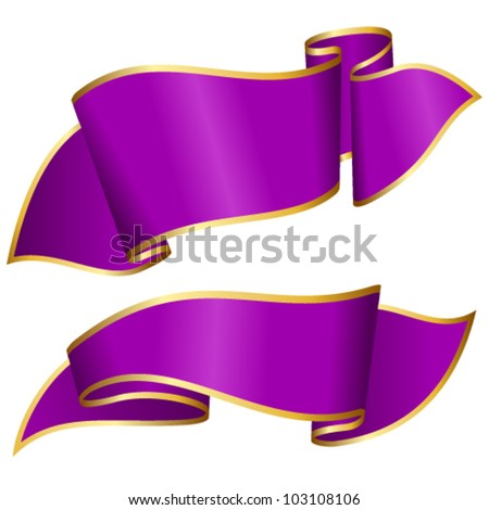 Purple ribbon collection - stock vector