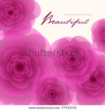 Purple roses square background.
