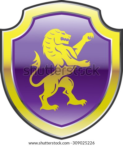 Purple Royal Shield with golden Lion Vector art - stock vector
