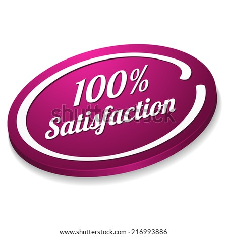Purple satisfaction button on white background